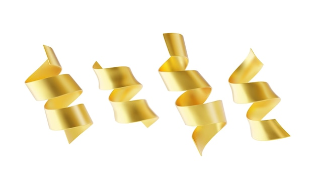 Collezione di nastri serpantine dorati isolati su priorità bassa bianca.