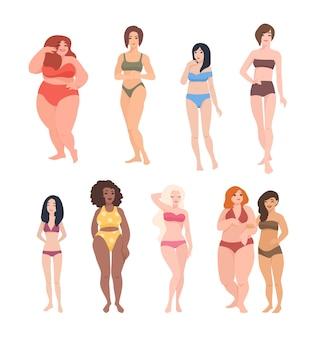 Collezione di bellissime donne di diversa razza, altezza e tipo di figura vestite in costume da bagno