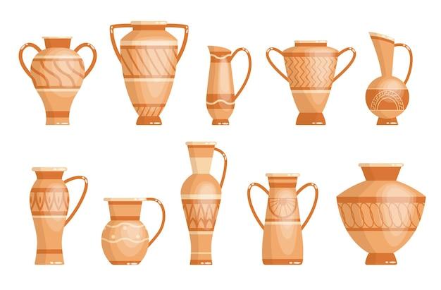 Collezione di vasi greci in stile antico come modello per interni.