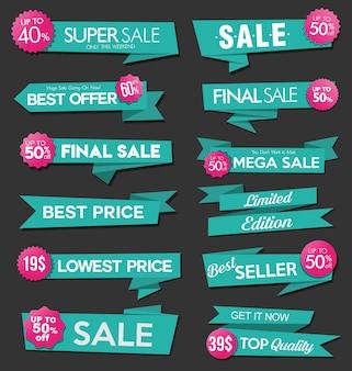 Collezione di adesivi e tag di vendita verde