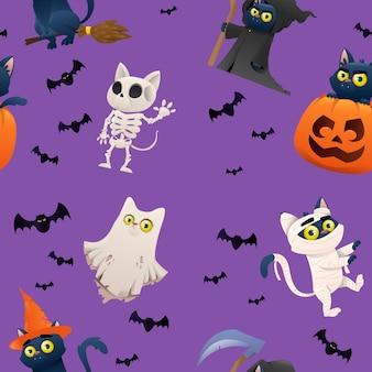 Raccolta di halloween sui gatti di caratteri backgraund
