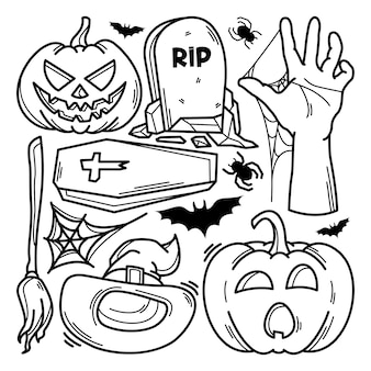 Raccolta di doodle di halloween