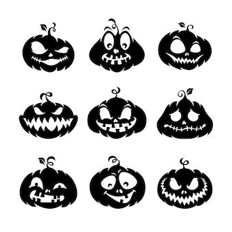 Raccolta di silhouette di zucca di halloween