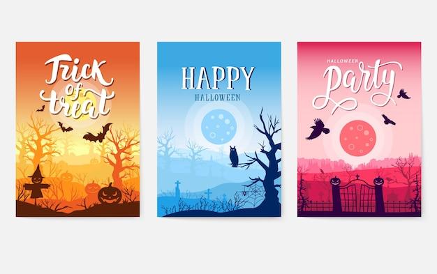 Raccolta di poster del tempo di halloween