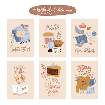 Collezione di poster e cartoline autunnali disegnati a mano per il ringraziamento e gli auguri stagionali disegnano un s...