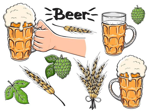 Collezione di accessori per birra disegnati a mano.