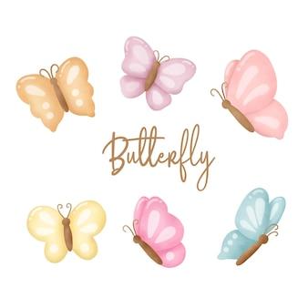 Collezione di farfalle disegnate a mano.