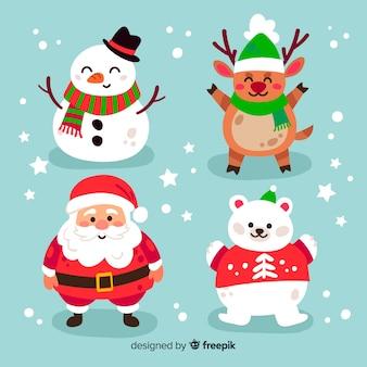 Raccolta di personaggi natalizi disegnati a mano Vettore Premium