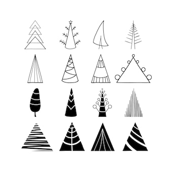 Collezione di icone dell'albero di natale disegnato a mano