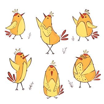 Collezione di uccelli scarabocchi colorati disegnati a mano. elemento di design carino per t-shirt, tessuti per la casa, carta da imballaggio, tessuti per bambini illustrazione vettoriale isolato su uno sfondo bianco.