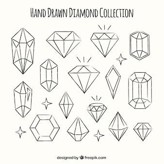 Raccolta dei diamanti disegnati a mano Vettore Premium