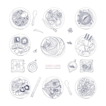 Raccolta di piatti disegnati a mano della cucina asiatica isolati su sfondo bianco. pasti e spuntini deliziosi, cibo tradizionale dell'asia - noodles ramen, gnocchi, sushi. illustrazione dettagliata di vettore.