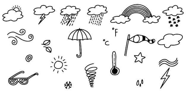 Collezione di icone meteo doodle disegnate a mano isolate su sfondo bianco
