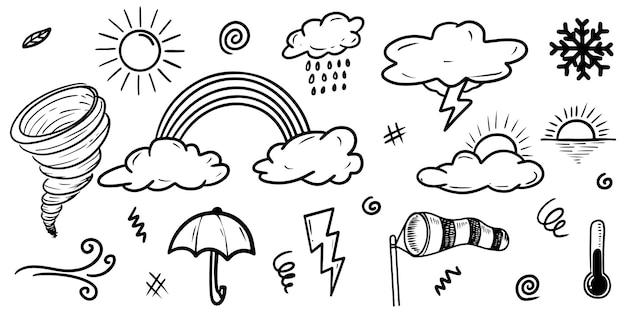 Collezione di icone meteo doodle disegnato a mano isolato su priorità bassa bianca.