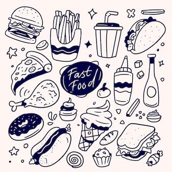 Raccolta di fast food disegnati a mano, doodle fast food