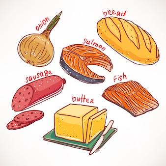 Raccolta di prodotti alimentari disegnati a mano