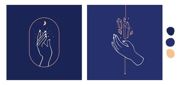 Icone disegnate a mano della raccolta delle illustrazioni delle mani. simboli astrologici magici.