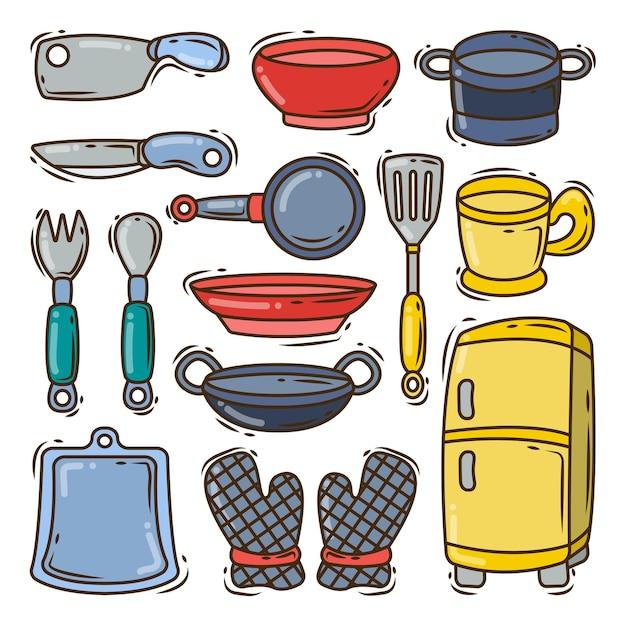 Raccolta di stile doodle disegnato a mano attrezzatura da cucina del fumetto