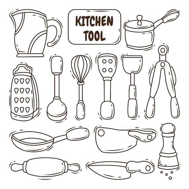 Collezione di disegni da colorare in stile scarabocchio del fumetto dello strumento della cucina disegnata a mano