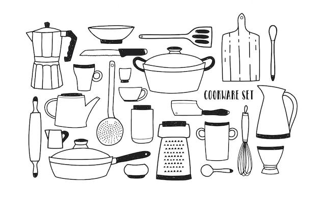 Collezione di utensili da cucina disegnati a mano e strumenti per cucinare. set di pentole monocromatiche dei cartoni animati. illustrazione in stile doodle alla moda.