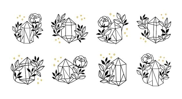 Collezione di elementi magici disegnati a mano con cristallo, fiore, stelle e ramo di foglie