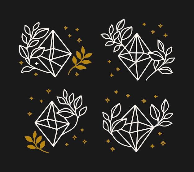 Collezione di elementi magici disegnati a mano con cristallo, stelle e ramo di foglie