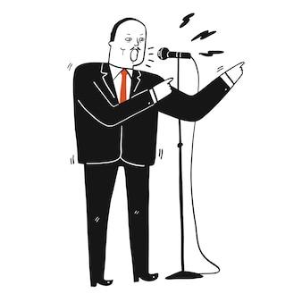 Raccolta di disegnati a mano un uomo in abito nero che parla il discorso al microfono.illustrazioni vettoriali in stile doodle schizzo.