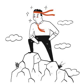 Raccolta di disegnati a mano un uomo con la sua cravatta cravatta sulla testa facendo un post di successo. illustrazioni vettoriali in stile doodle schizzo.