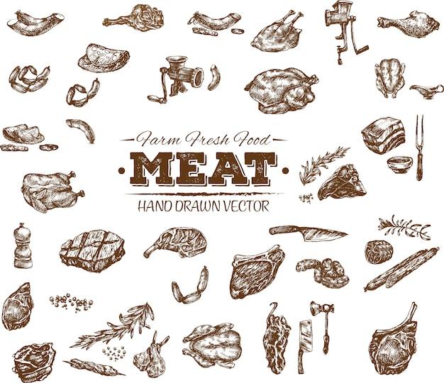 Collezione di prodotti a base di carne disegnati a mano