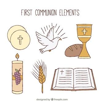 Collezione di oggetti religiosi disegnati a mano