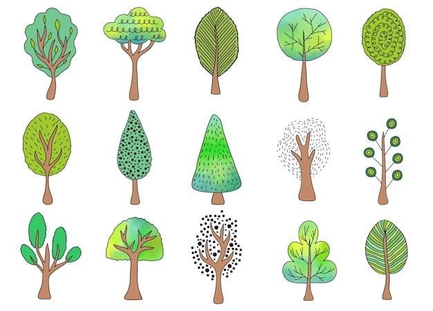 Raccolta di alberi disegnati a mano su sfondo bianco.