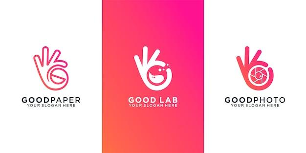Insieme dell'icona di buon logo della mano della raccolta