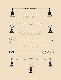 Raccolta di bordi disegnati a mano realizzati con pennello e inchiostro. turbinii e divisori unici per il tuo design. bordi di inchiostro. divisori vettoriali.
