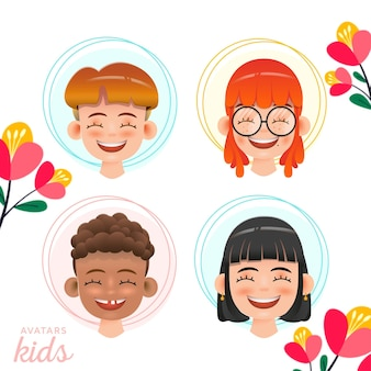 Collezione di happy kids avatars character premium vector