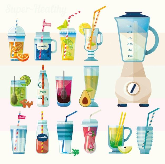 Raccolta di illustrazione di bevande salutari