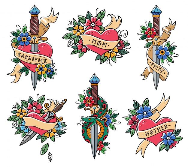 Collezione di tatuaggi cuore in stile vecchia scuola. cuore con nastro, fiori e parole mamma, madre. pugnale con serpente verde. pugnale trafitto cuore. slyle vecchia scuola. set di tatuaggi retrò