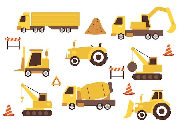 Raccolta di illustrazioni di attrezzature pesanti per la costruzione