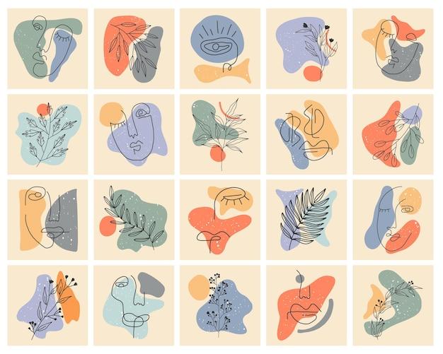 Raccolta di copertine di storie salienti per i social media. sfondi disegnati a mano pastello.