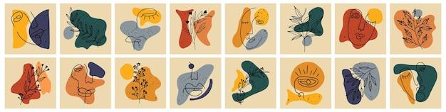 Raccolta di copertine di storie salienti per i social media. insieme disegnato a mano pastello.