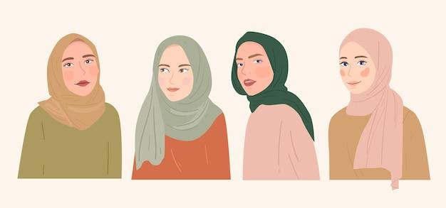 Collezione di illustrazioni di cartoni animati con ritratto di donna hijab