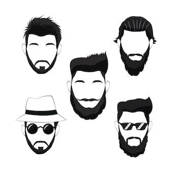 Collezione barba uomo hipster