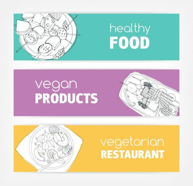 Raccolta di modelli di banner orizzontale con monocromatico cibo vegan disegnato a mano su sfondo colorato luminoso. offerte speciali e offerte. illustrazione per pubblicità ristorante vegetariano.