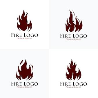 Collezione di design del logo in fiamme calde