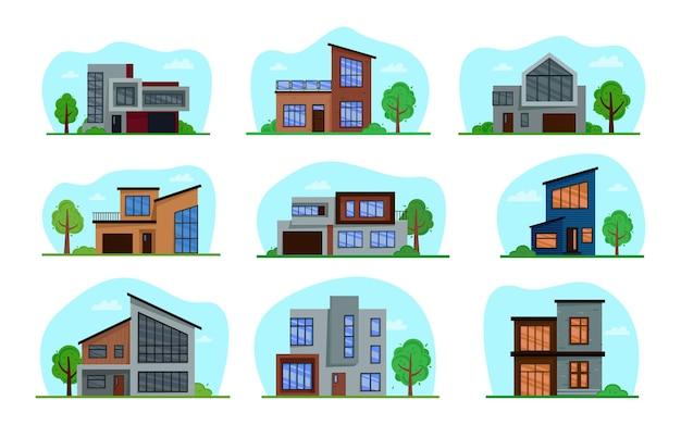 Una collezione di case in stile moderno.
