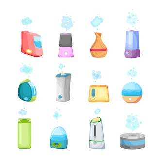 Una collezione di umidificatori un sistema ecologico per umidificare l'aria secca in qualsiasi altro ambiente