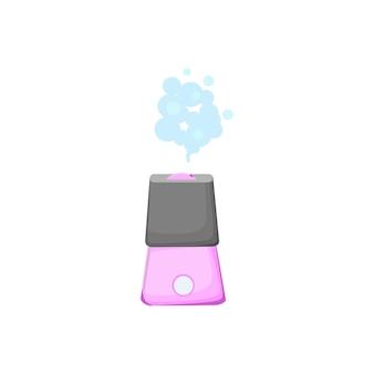 Una collezione di umidificatori. un sistema ecologico per umidificare l'aria secca della casa e di qualsiasi altro ambiente. microclima degli elettrodomestici. illustrazione piana del fumetto di vettore moderno.
