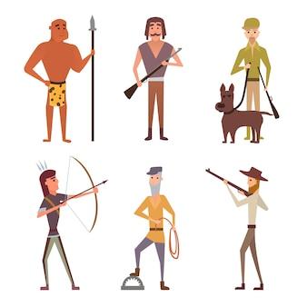 Raccolta di illustrazioni di cacciatori