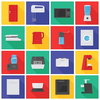 Collezione di icone o pittogrammi con elettrodomestici da cucina, attrezzature, strumenti manuali ed elettrici per la lavorazione degli alimenti