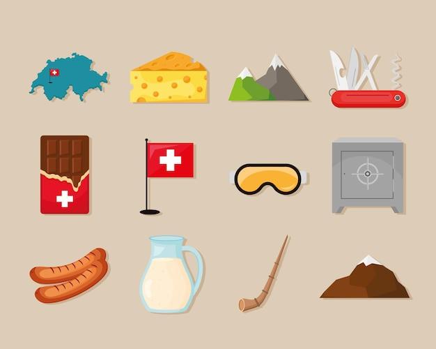 Collezione di icone della svizzera