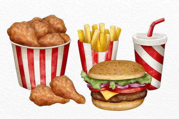 Raccolta di fast food illustrati